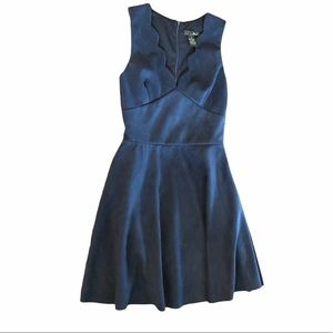 AQUA Blue Scalloped FIT & FLARE Dress micro suede